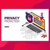 Infographic, bandeira com herói protege dados e confidencialidade Segurança e proteção de dados confidencial ilustração stock