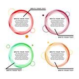 Infographic baner för färg Genomskinliga geometriska cirklar med text Royaltyfri Bild