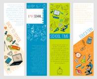 Infographic baner för skolutbildningsymboler Arkivbild