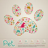 Χαριτωμένο δημιουργικό ζώων και κατοικίδιων ζώων φυλλάδιο εικονιδίων καταστημάτων infographic bann Στοκ Εικόνες