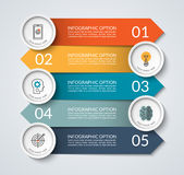 Infographic banner with opposite arrows and circle design elements Royalty Free Stock Photo