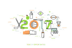 Infographic banner, 2017 - year of opportunities. New trends and prospects in sports championships, sporting events Royalty Free Stock Photos