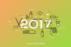 Infographic banner, 2017 - year of opportunities. New trends and prospects in sports championships, sporting events Royalty Free Stock Photo