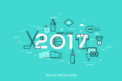 Infographic banner, 2017 - year of opportunities. New trends and prospects in sports championships, sporting events Stock Images