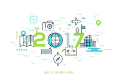 Infographic banner, 2017 - year of opportunities. New trends and prospects in tourism, trips, touristic services and. Travel applications. Plans and predictions royalty free illustration