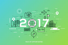 Infographic banner, 2017 - year of opportunities. New trends and prospects in tourism, trips, touristic services and. Travel applications. Plans and predictions stock illustration