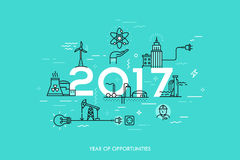 Infographic banner, 2017 - year of opportunities. Trends and predictions in water supply, electric power generation Stock Photo