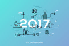 Infographic banner, 2017 - year of opportunities. Trends and predictions in water supply, electric power generation Royalty Free Stock Photography