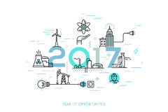 Infographic banner, 2017 - year of opportunities. Trends and predictions in water supply, electric power generation Royalty Free Stock Image