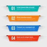 Infographic banners. Color labels with steps and options vector set. Illustration of banner label layout with numbers stock illustration