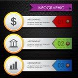 Infographic bedrijfs kleurrijke leer zwarte achtergrond Royalty-vrije Stock Foto's