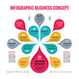 Infographic Bedrijfsconcept - abstracte achtergrond - creatieve vectorillustratie met kleurrijke bloemblaadjes en Pictogrammen Stock Foto
