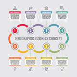 Infographic bedrijfsconcept - creatieve vectorlay-out met pictogrammen Cirkels en pijlen Infographic cyclus Ontwerpinfographics Royalty-vrije Stock Afbeeldingen