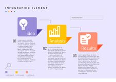 Infographic bedrijfselement met pictogramidee, analyse, en resultaten stock illustratie