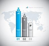 Infographic bedrijfsgrafiek met opties en wereld  Stock Foto's