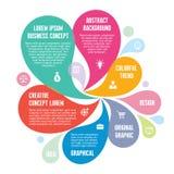 Infographic begrepp - abstrakt bakgrund - idérik vektorillustration med färgrika kronblad och symboler Royaltyfri Fotografi