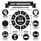 Infographic begrepp för golf, enkel stil stock illustrationer