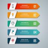 Infographic begrepp för pil med 5 alternativ vektor illustrationer