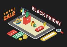 Infographic begrepp för plan isometrisk svart fredag för rengöringsduk 3d försäljning Arkivfoto