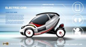 Infographic begrepp för realistisk elbil 3d Affisch för Digital vektorelbil med symboler E-kommers affär Royaltyfri Bild