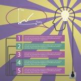 infographic begrepp Mänskligt huvud med idén - ljus kula royaltyfri illustrationer