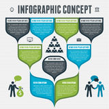 Infographic begrepp - vektorintrig för designorienteringen, affärspresentation, nummeralternativ, banermall, rengöringsdukdesign,  Arkivfoto
