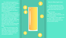 Infographic about the beneficial properties of apple juice and a method of preparing juice. A glass cup with spinach juice and text are isolated on simple Stock Photography