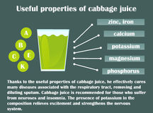 Infographic about the beneficial properties of cabbage juice. A glass cup with cabbage juice and text are isolated on a dark background. Helpful information Royalty Free Stock Photo
