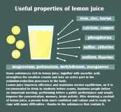 Infographic about the beneficial properties of lemon juice. A glass cup with lemon juice and text are  on a dark background. Helpful information. Vector Stock Images