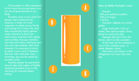 Infographic about the beneficial properties of pumpkin juice and a method of preparing juice. A glass cup with spinach juice and text are  on simple background Royalty Free Stock Images