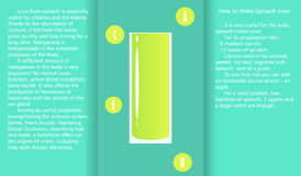 Infographic about the beneficial properties of spinach juice and a method of preparing juice. A glass cup with spinach juice and text are isolated on simple Stock Photography