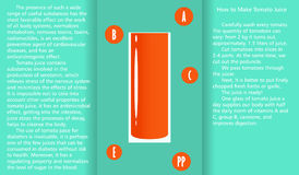 Infographic about the beneficial properties of tomato juice and a method of preparing juice. A glass cup with spinach juice and text are isolated on simple Stock Images