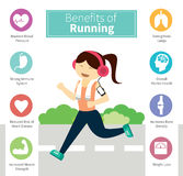 Infographic benefits of running. Vector infographic benefits of running vector illustration
