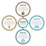 Infographic-Berichtsschablone mit Kreisen und Ikonen Lizenzfreie Abbildung