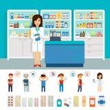 Infographic beståndsdelar för apotek och plan banerdesign Fastställd design för vektorapotekapotek Förgiftar symbolspreventivpill stock illustrationer