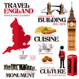 Infographic beståndsdelar för att resa till England Royaltyfri Bild