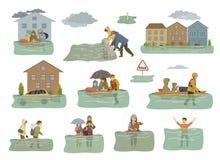 Infographic beståndsdelar för flod översvämmade hus, stad, bil, folkflykt från floodwaters som lämnar hus, hem, räddningsaktionfa vektor illustrationer
