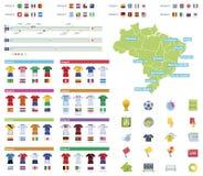 Infographic beståndsdelar för fotbollmästerskap Arkivbilder