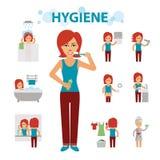 Infographic beståndsdelar för hygien Kvinnan är upptagen, renlighet, badningen, toaletten, tvätteri och att ta ett bad som borsta vektor illustrationer