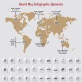 Infographic beståndsdelar för världskarta Royaltyfria Bilder