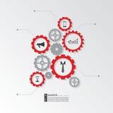 Infographic beståndsdelar - kugghjulkugghjul Fotografering för Bildbyråer