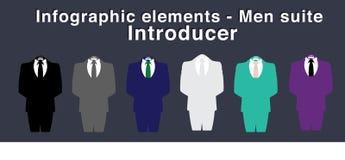 Infographic beståndsdelar - män passa presentatören - vektorillustration, olika färger stock illustrationer
