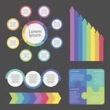 Infographic beståndsdelar som dekoreras i olika färger royaltyfri illustrationer