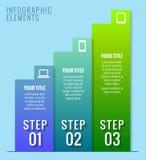 Infographic beståndsdelar. Tre moment till framgång. Arkivfoton