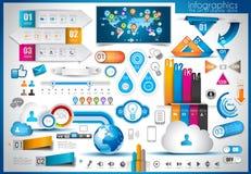 Infographic beståndsdelar - uppsättning av pappers- etiketter Arkivfoto