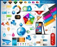 Infographic beståndsdelar - uppsättning av pappers- etiketter, stock illustrationer