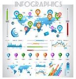 Infographic beståndsdelar - uppsättningen av pappers- märker Arkivbilder
