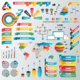 Infographic beståndsdelsamling - affärsvektorillustration i plan designstil för presentation, häfte, website Royaltyfri Foto