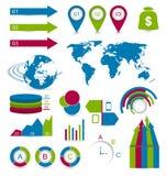 Infographic beståndsdelar för fastställd detalj för designwebbplatsorientering Royaltyfri Foto
