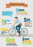 Infographic  of bicycle rider,benefit of cycling. Vector of bicycle rider,benefit of cycling,infographic ,poster,flyer Stock Image